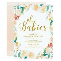Oh Babies Peach Floral Glitter Twins Baby Shower Invitation