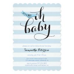 Oh Baby Blue Stripes Baby Shower Invite