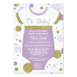 Oh Baby Girl, Baby Shower Invitation, Faux Gold