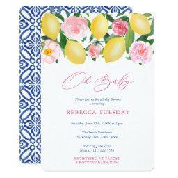 Oh Baby Lemons Blue White Tiles Girl Baby Shower Invitation