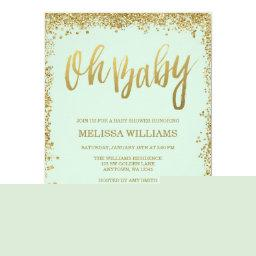 Oh Baby Mint Gold Glitter Baby Shower Invitations