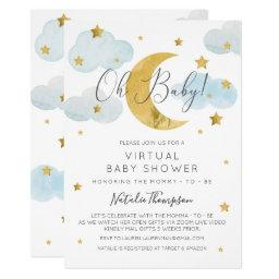 Oh Baby Moon & Stars Theme Virtual Baby Shower Invitation