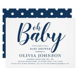 Oh Baby - Navy Blue Polka Dot Baby Shower