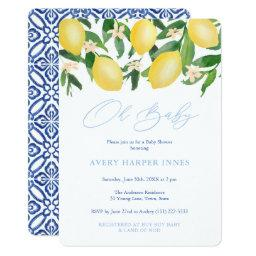 Oh Baby Positano Lemons Blue Boy Baby Shower Invitation