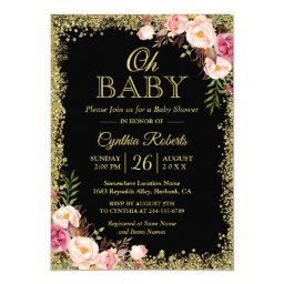 Oh Baby Shower - Black Gold Glitters Pink Floral