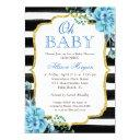 Oh Baby Shower Blue Floral Gold Black Stripes