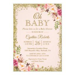 Oh Baby Shower - Blush Pink Gold Glitters Floral Invitations