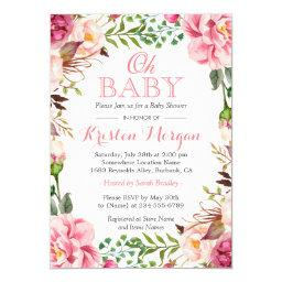 Oh Baby Shower Girly Elegant Chic Pink Flowers