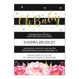 Oh Baby Shower Gold Glitter Dots Floral Stripes