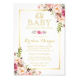 Oh Baby Shower Graceful Chic Floral Gold Frame