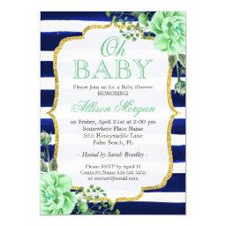 Oh  Mint Floral Gold Navy Stripes
