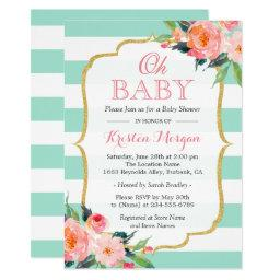 Oh Baby Shower Mint Green Stripes Pink Floral Invitation