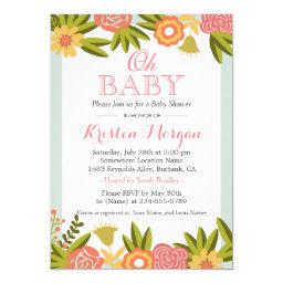 Oh Baby Shower Modern Chic Nature Flowers