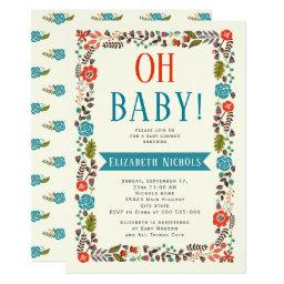 Oh Baby Shower Red And Teal Modern Floral Border Invitations