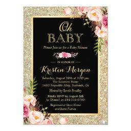 Oh Baby Shower Shiny Gold Glitter Sparkles Floral