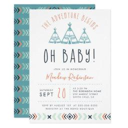 Oh Baby Tribal Teepee Adventure Begins Baby Shower Invitation