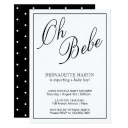 Oh Bebe | Black & White Baby Shower Invitation