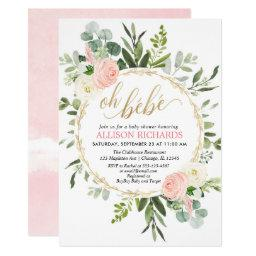 Oh Bebe Pink Gold French Floral Girl Baby Shower Invitation