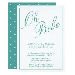 Oh Bebe | Teal Typography Baby Shower