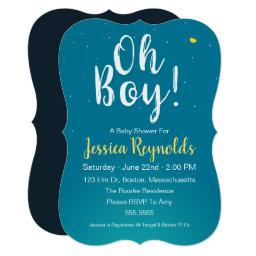Oh Boy! – Blue Baby Boy Shower Invitation