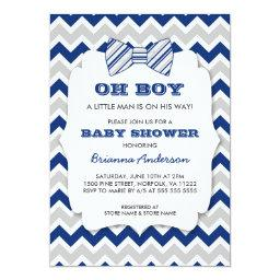 OH BOY Bow tie baby shower / navy gray chevron