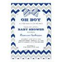 Oh Boy Bow Tie Baby Shower / Navy Gray Chevron Invitation