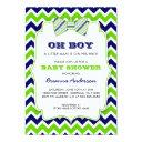 Oh Boy Bow Tie Baby Shower / Navy Green Chevron Invitation