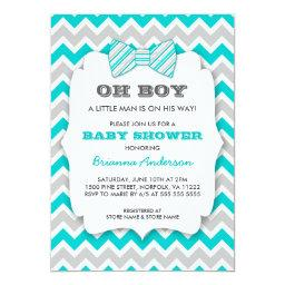 OH BOY Bowtie baby shower / turquoise gray chevron