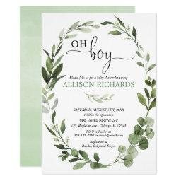 Oh Boy Greenery Eucalyptus Foliage Baby Shower Invitation
