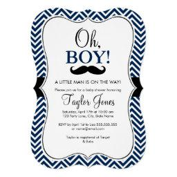 Oh Boy Mustache Baby Shower Invite / Navy