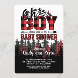 Oh Boy Plaid Lumberjack Baby Shower Invitation