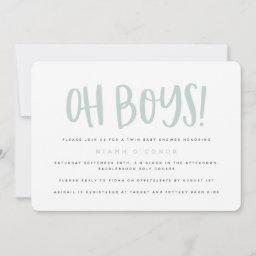 Oh Boys Twin Baby Shower Invitation