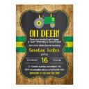 Oh Deer Green Tractor Baby Shower Invitation