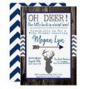 Oh Deer! Little Buck Navy Grey Chevron Baby Shower Invitation