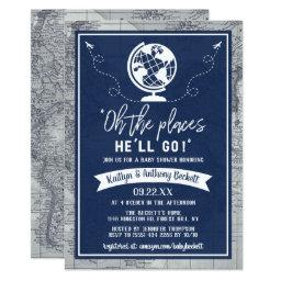 """""""oh The Places He'll Go!"""" Travel Map Baby Shower Invitation"""