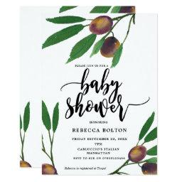 Olive Branch Laurel Modern Baby Shower Invite