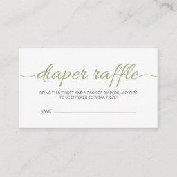 Olive Green Baby Shower Raffle Ticket Insert