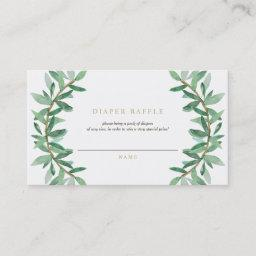 Olive Leaf Diaper Raffle Ticket Enclosure Card