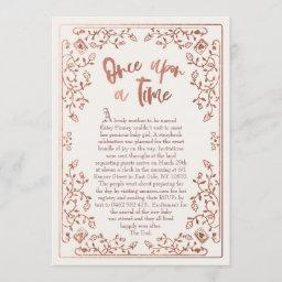 Once Upon A Time Storybook Baby Shower Invitation
