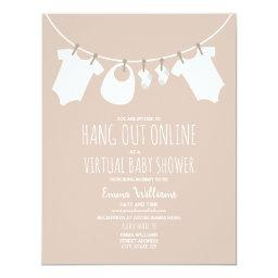 Online Virtual Pink Girl Baby Shower Clothesline Invitation