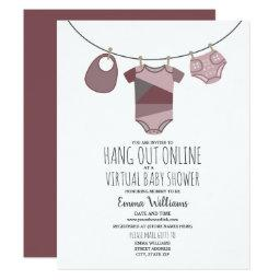 Online Virtual Plum Girl Baby Shower Clothesline Invitation