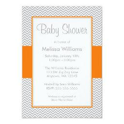Orange and Gray Chevron Baby Shower