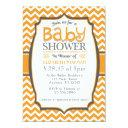 Orange Gray Chevron Baby Shower Invitations