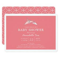 Origami Paper Cranes Pink Baby Shower Invitation