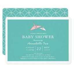 Origami Paper Cranes Teal Baby Shower