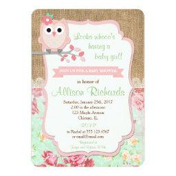 Owl Baby Shower Invitations Burlap Lace Mint Pink