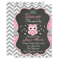Owl Baby Shower Invitation, Chevron, Chalkboard