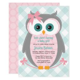 Owl Baby Shower Invitation Girl Pink Gray Mint