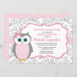 Owl Baby Shower Invitation Girl Pink Gray Woodland