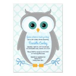 Owl baby shower  boys blue gray mint